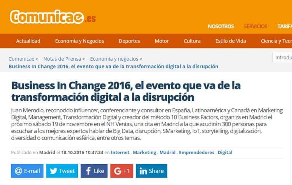 """Bere Casillas participa en el congreso """"Business in Change"""" en Madrid."""