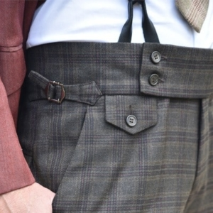 Pantalón casual a medida cuadros lana cintura ancha
