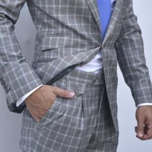 Pantalón a medida de cuadros traje hombre