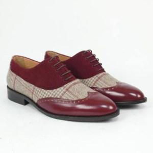 Zapato personalizado burdeos tejido cuadros