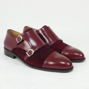 Zapato personalizado doble hebilla ante y piel burdeos