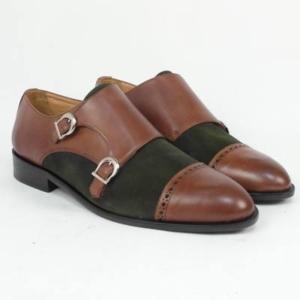 Zapato personalizado doble hebilla crush marrón ante verde