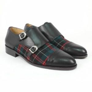 Zapato personalizado doble hebilla tejido cuadro escocés