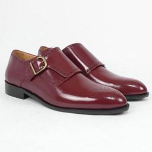 Zapato personalizado una hebilla florentic burdeos