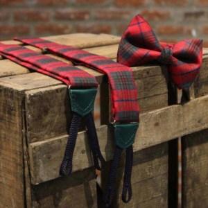 Tirante y pajarita a medida cuadro escocés